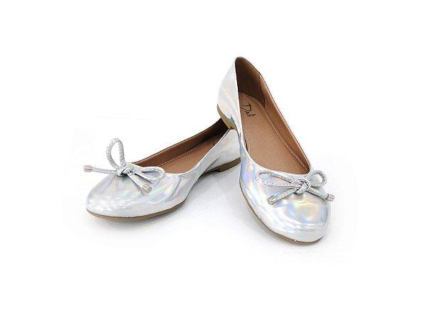 Sapatilha Bico Redondo e Lacinho Prata - Dalí Shoes