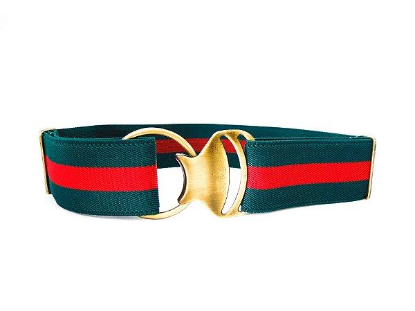 Cinto Elástico e Fivela de Metal Argola Verde/Vermelho - Dali Shoes