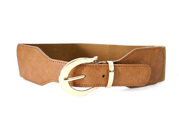 Cinto Elástico e Ponteira de Couro Eco Caramelo - Dali Shoes