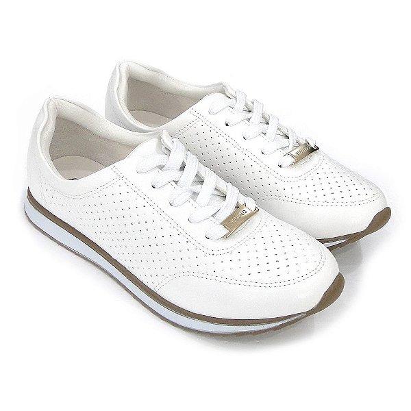 62a6a992b Tenis Via Uno Jogging Verniz Laser Cut Branco Feminino - Calçados ...