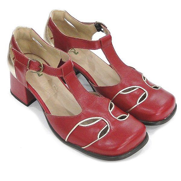 b4f8add3c2 Sapato Boneca Couro Dali Shoes Salto Grosso Baixo Vermelho Feminino ...