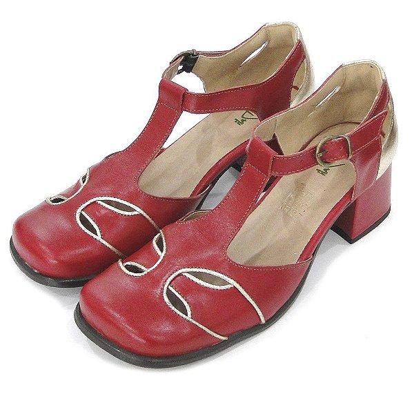 Sapato Boneca Couro Dali Shoes Salto Grosso Baixo