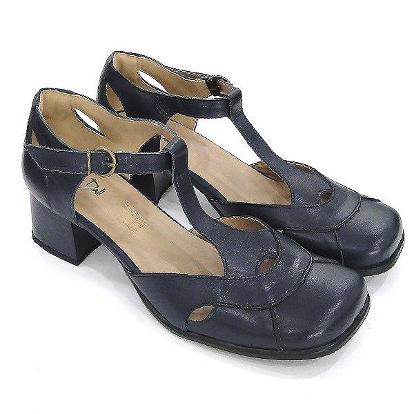f3e924fef2 Scarpin Couro Dali Shoes Boneca Salto Grosso Marinho Feminino ...