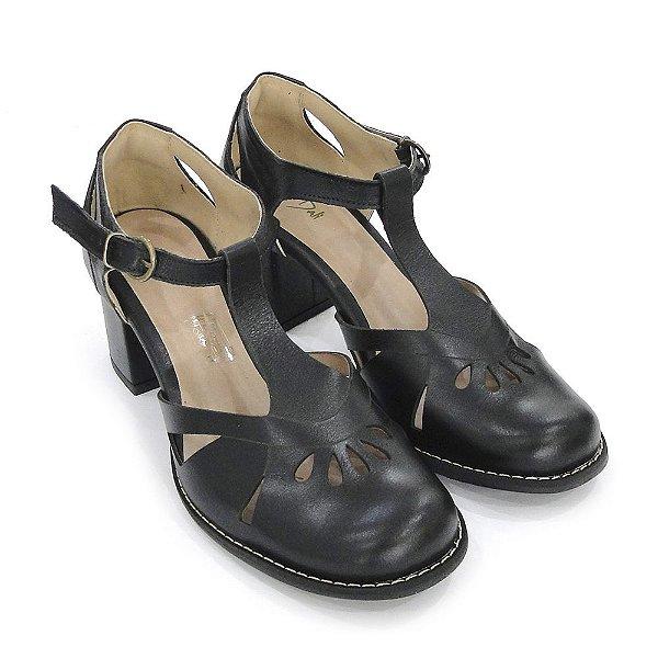 1a63ffc9fe Sapato Boneco Couro Dali Shoes Salto Grosso Médio Preto Feminino ...