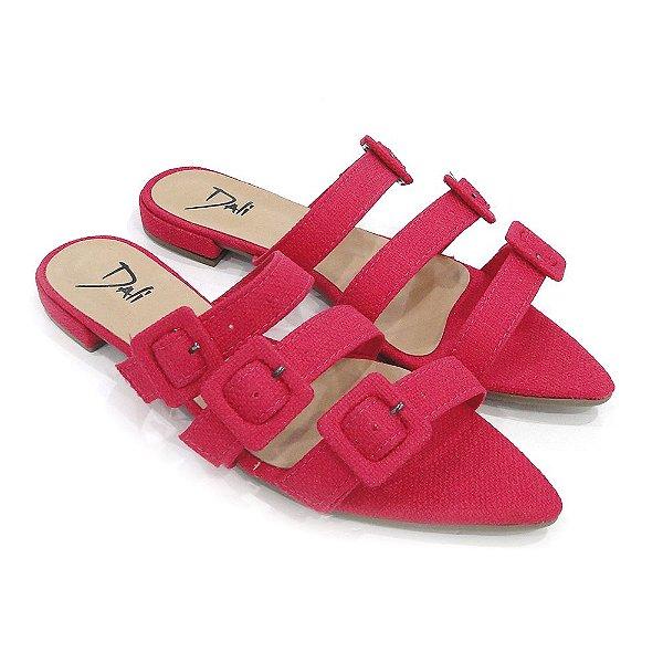 fc77eb480a Rasteira Dali Shoes Linho E Bico Fino Com Fivelas Pink Feminina ...