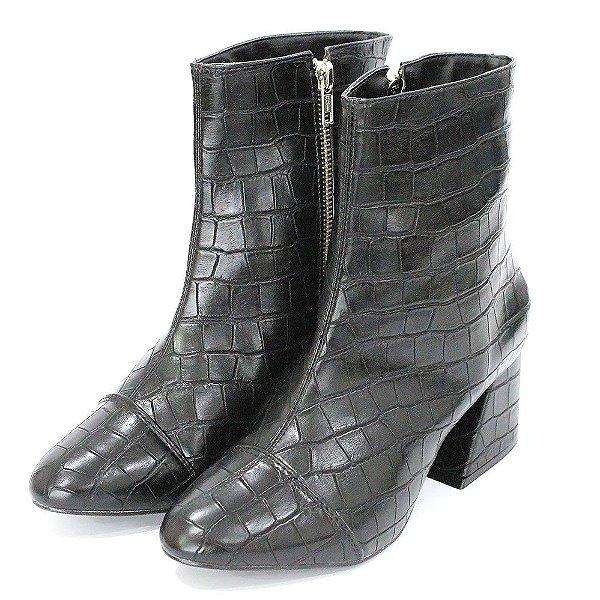Bota Dalí Shoes Croco Cano Curto e Salto Grosso Ziper Metal