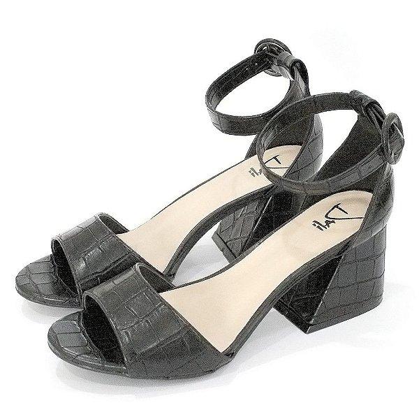 Sandalia Dalí Shoes Salto Grosso Croco
