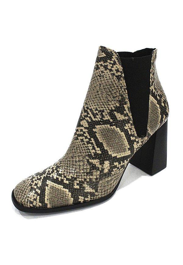 Bota Dalí Shoes Cano Curto e Salto Grosso Animal Print