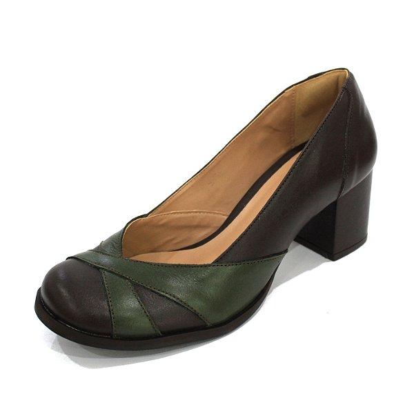 Scarpin Couro Dali Shoes Boneca Salto Grosso e Recortes