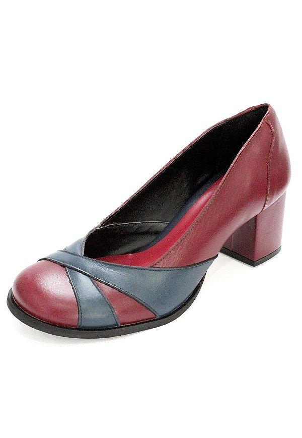 Sapato Boneca Couro Dali Shoes Salto Grosso e Recortes