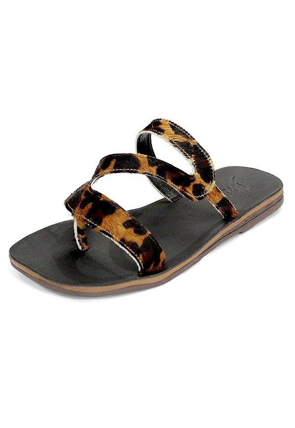 Rasteira Lilly Dali Shoes Couro e Pêlo Oncinha