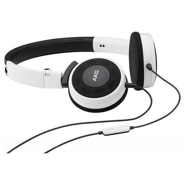 Fone de ouvido AKG Y30 - On-Ear com Controle / Microfone Universal - Branco