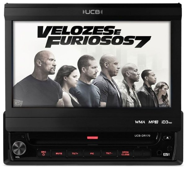"Dvd Player Retrátil Tela 7"" Polegadas UCB-DR170 Touch Screen, Usb, Mp3"