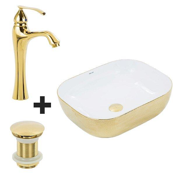 Cuba de Apoio Retangular Dourado + Misturador Dourado + Válvula Click