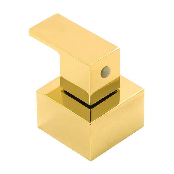Acabamento Registro Dourado Quadrado Base Deca