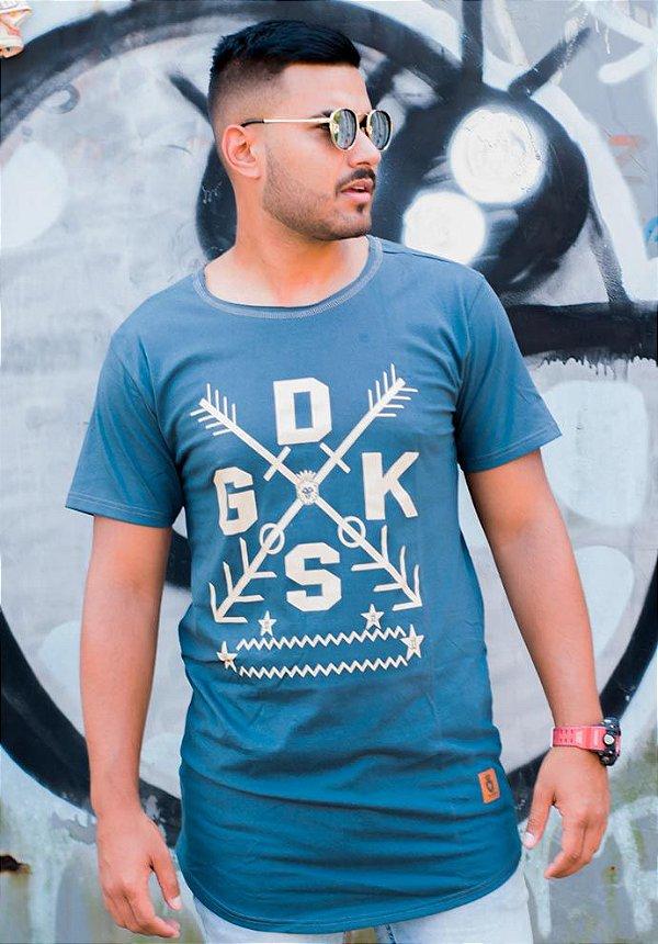 Camiseta Masculina Longline X cinza azulado