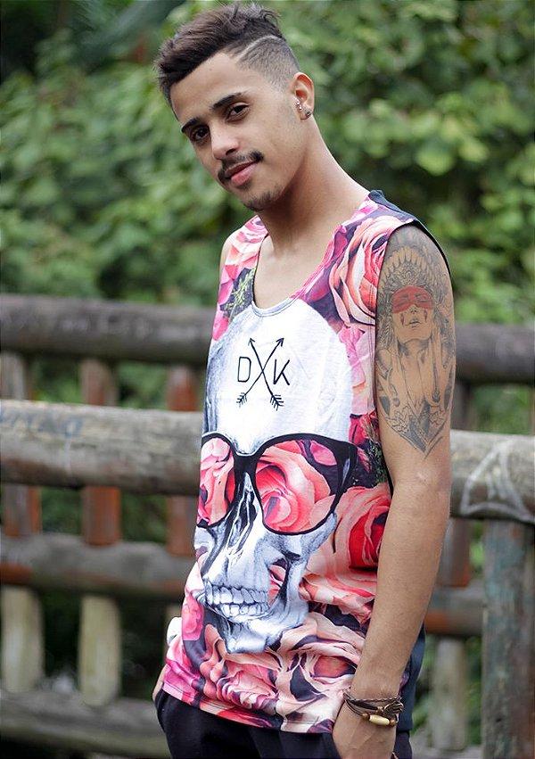 Camiseta Regata Caveira Mexicana Floral - Rei Look c2dc50115e1