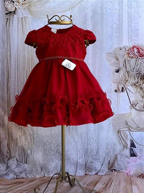 Vestido de Festa Infantil - Vermelho - Super Luxo
