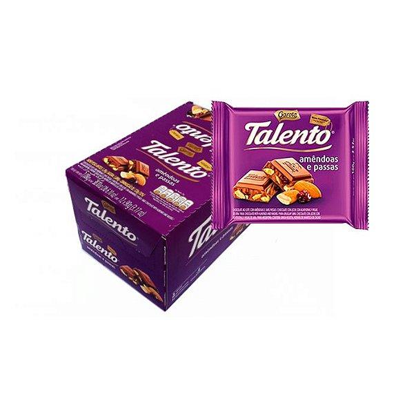 Talento Amêndoas e Passas com 12 unidades de 90g cada Garoto
