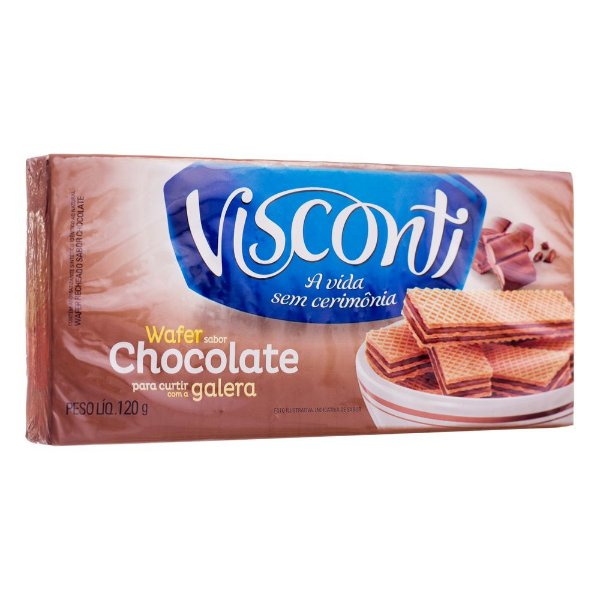 Biscoito Wafer Sabor Chocolate Visconti 120g