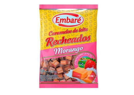 Bala Caramelos de leite recheados de morango 660g Embaré