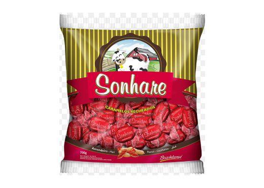Bala Caramelos Recheados de Amendoim Sonhare 600g Boavistense