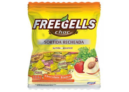 Bala Freegells Sortida Recheada de Chocolate Branco Riclan 584g
