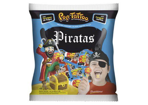 Pirulito Pop Tattoo Piratas Morango 400g