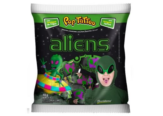 PIRULITO POP TATTOO ALIENS MAÇA VERDE 400g