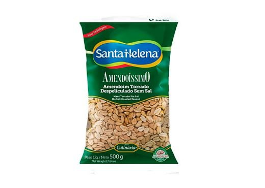 Amendoim Torrado Despeliculado sem sal Santa Helena 500g
