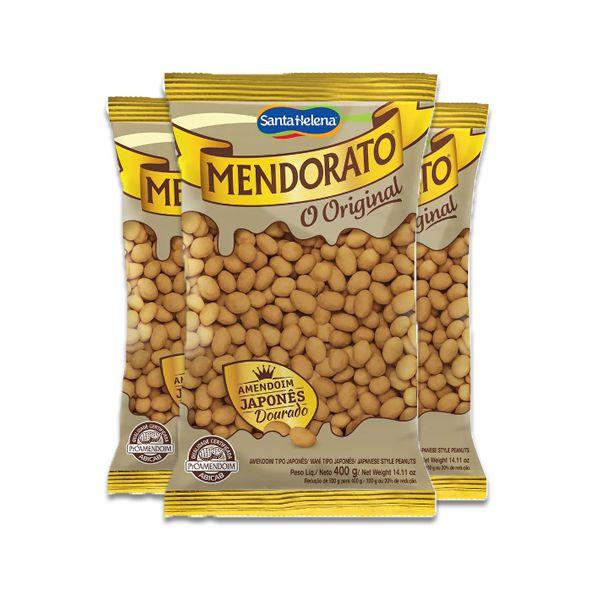 Amendoim Japonês Dourado Mendorato 3 pacotes de 200g