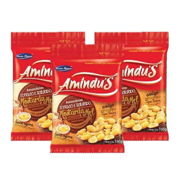 Amendoim Torrado e Salgado sabor Mostarda e Mel Amíndus Contendo 3 Pacotes de 150g