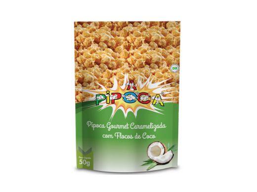 Pipoca Gourmet Caramelizada com Flocos de Coco contendo 3 pacotes 50g