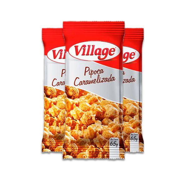 Pipoca Caramelizada Village contendo 3 Pacotes de 65g