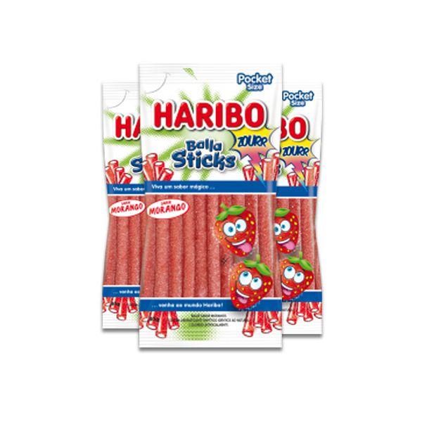 Bala Gelatina Haribo Balla Sticks Zourr Sabor Morango Contendo 3 Pacotes de 80G
