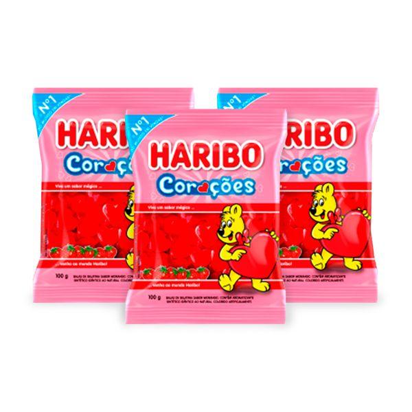 Bala Gelatina Haribo Corações contendo 3 pacotes de 100g