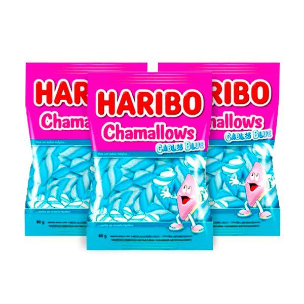 Marshmallow Haribo Chamallows Torção Cables Blue contendo 3 pacotes de 80g