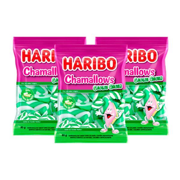 Marshmallow Haribo Chamallows Torção Cables Green contendo 3 pacotes de 80g