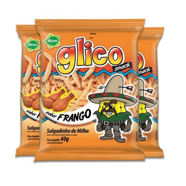 Salgadinho Glico Frango contendo 3 pacotes de 40g cada