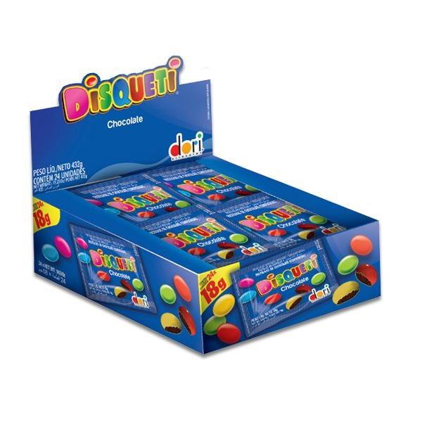 Disqueti Pastilhas de Chocolate Dori contendo 24 pacotes de 18g