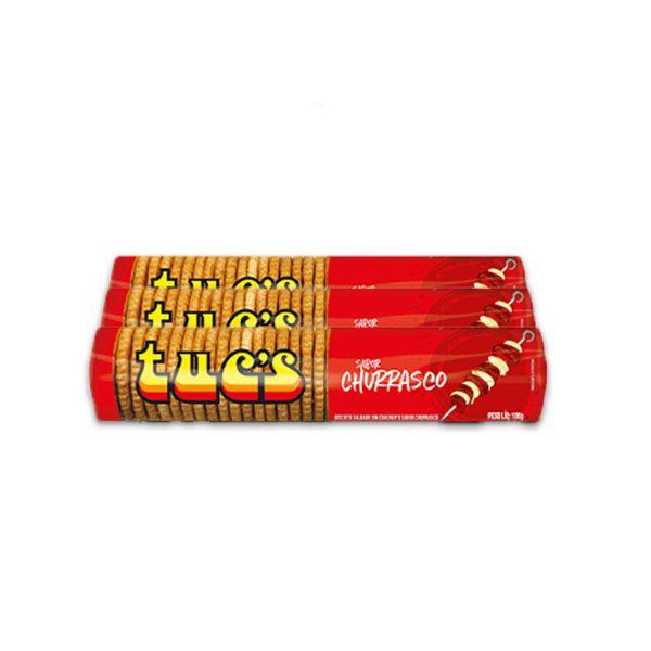 Biscoito Salgado Churrasco Tucs Bela Vista contendo 3 pacotes de 100g cada