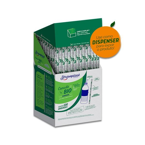Canudo Biodegradável Garrafa Strawplast c/500