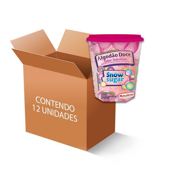 Algodão Doce Snow Sugar Tutti Frutti Mavalério contendo 12 unidades de 35g cada