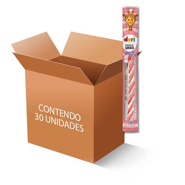 Bala Pescoço de Girafa Iogurte de Morango Regaliz Dori contendo 30 unidades de 30g cada