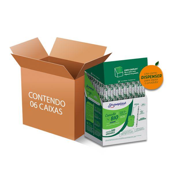Canudo Biodegradável Comum Strawplast contendo 6 caixas