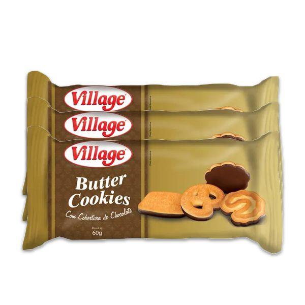 Butter Cookies com Cobertura de Chocolate Village contendo 3 pacotes de 60g cada