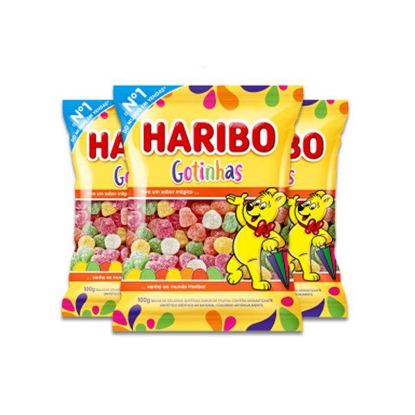 Bala de Gelatina Haribo Gotinhas Ácidas contento 3 pacotes de 100g cada