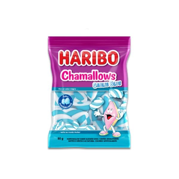Marshmallow Azul sabor Algodão Doce Haribo Cables Blue 250g