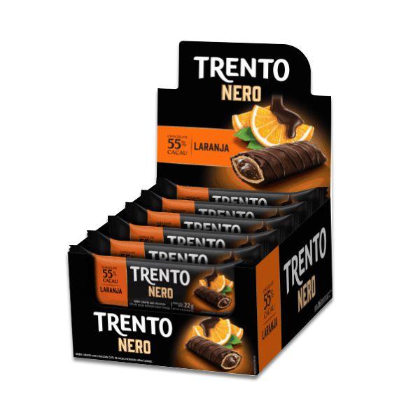 Trento Nero 55% Cacau e Laranja Peccin contendo 16 unidades de 22g cada
