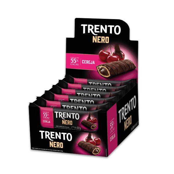 Trento Nero 55% Cacau e Cereja Peccin contendo 16 unidades de 22g cada